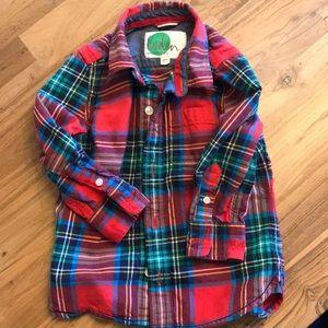 Mini Boden plaid button up shirt 2-3Y